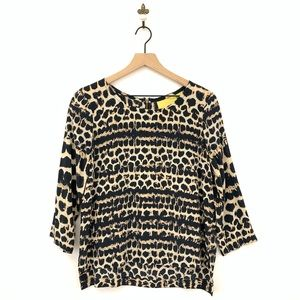 Anthropologie Maeve Linosa Animal Print Silk Top M